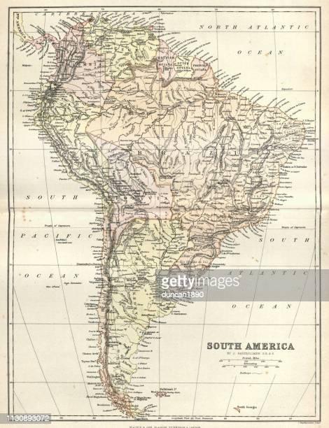 ilustraciones, imágenes clip art, dibujos animados e iconos de stock de mapa antiguo de américa del sur, 1884, siglo 19 - islas malvinas