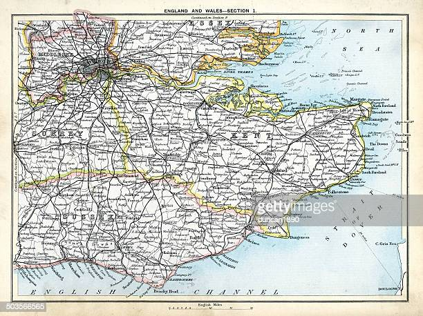 antique map of south east england - west sussex stock illustrations