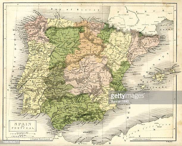antique map of spain and portugal - comunidad autonoma de valencia stock illustrations
