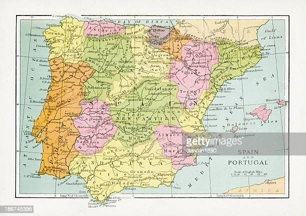 antique map of spain and portugal - en búsqueda stock illustrations