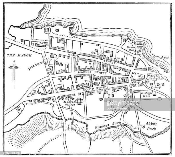 antique map of st andrews, scotland - 19th century - st. andrews scotland stock illustrations