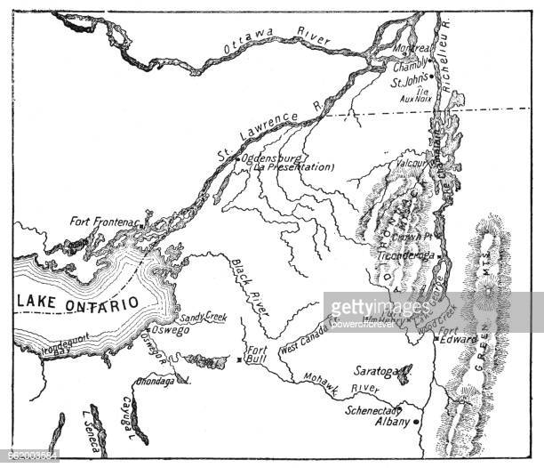 antique map of st. lawrence area during the war of 1812 - 19th century - river st lawrence stock illustrations