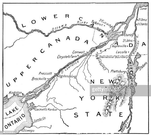 antique map of st. lawrence area during the war of 1812 - 19th century - lake ontario stock illustrations, clip art, cartoons, & icons