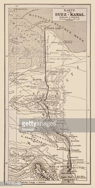 antique map of suez canal - suez canal stock illustrations