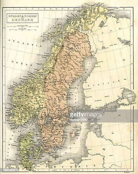 Antique map of Sweden Norway and Denmark