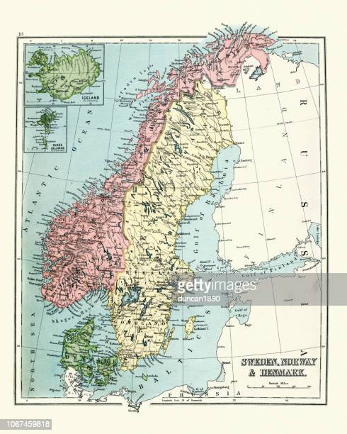 Antique map of Sweden, Norway, Denmark, 1897, late 19th Century