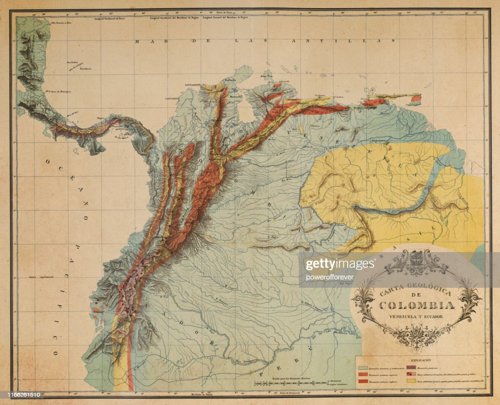 Antique Map Of The Andes Mountains In Ecuador Venezuela And ...