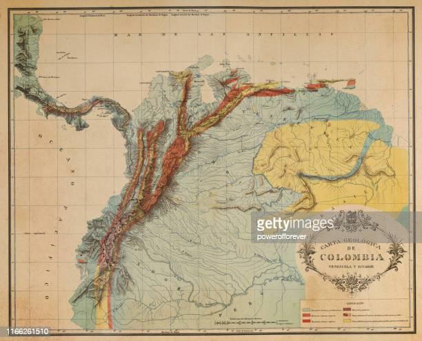 ilustraciones, imágenes clip art, dibujos animados e iconos de stock de mapa antiguo de los andes en ecuador, venezuela y colombia - siglo xix - colombia