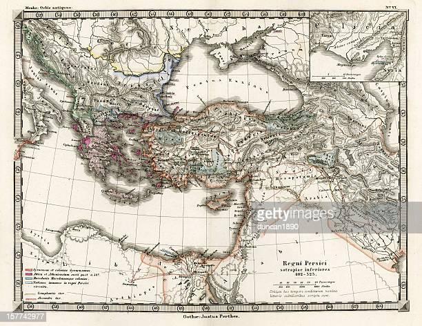 アンティークの地図、ペルシャエンパイア - ペルシア文化点のイラスト素材/クリップアート素材/マンガ素材/アイコン素材
