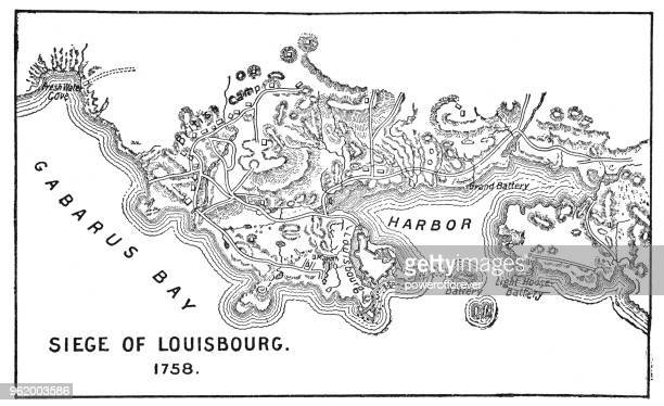 antique map of the siege of louisbourg - 18th century - louisbourg stock illustrations, clip art, cartoons, & icons