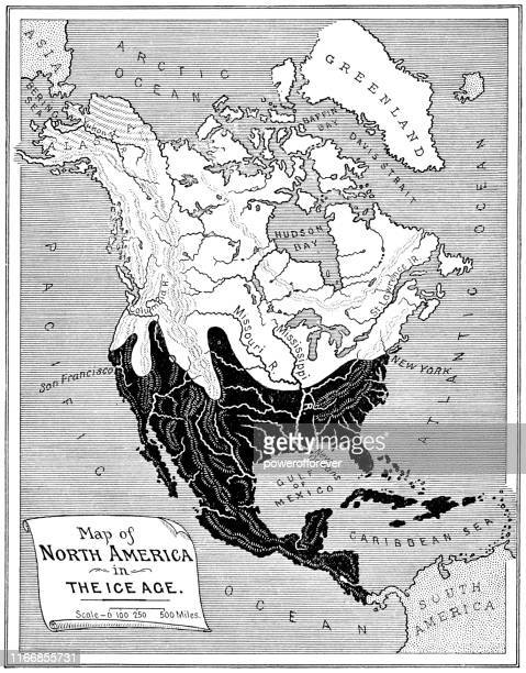 antique map of the wisconsin glacial episode ice age extent of glaciation in north america - 19th century - powerofforever stock illustrations