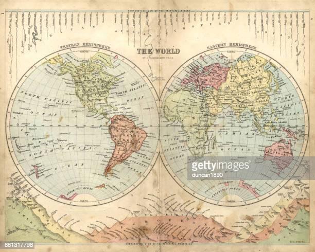 illustrations, cliparts, dessins animés et icônes de carte antique du monde, 1873 - hémisphère