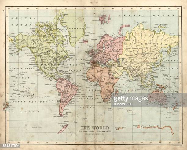 antique map of the world, 1873 - archival stock illustrations