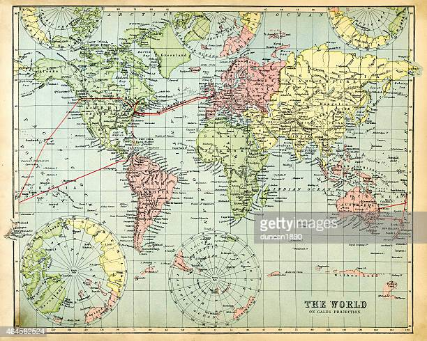 antique map of the world 1897 - antique stock illustrations, clip art, cartoons, & icons