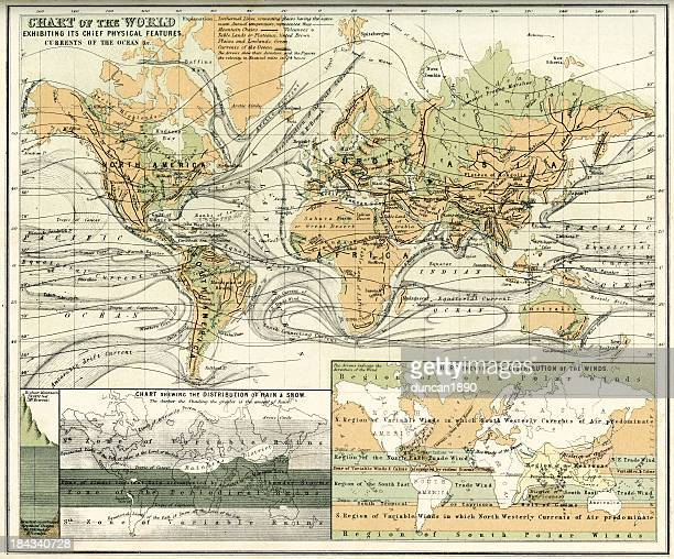 antique map of the world - tide stock illustrations, clip art, cartoons, & icons