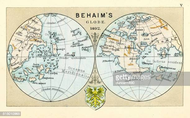 antique map of the world - circa 15th century stock illustrations, clip art, cartoons, & icons