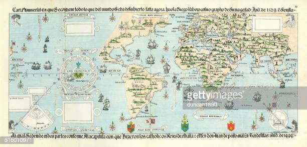 antique map of the world - 16th century style stock illustrations, clip art, cartoons, & icons
