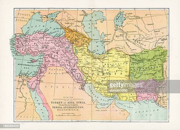 antique map of turkey in asia - ottoman empire stock illustrations