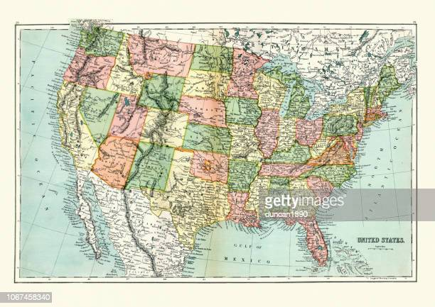 antique map of united states, 1897, late 19th century - american culture stock illustrations