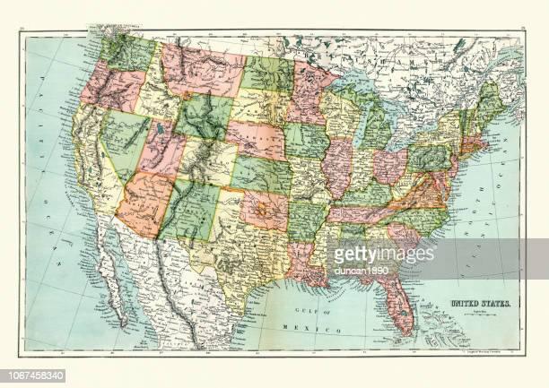 ilustrações, clipart, desenhos animados e ícones de antigo mapa dos estados unidos, 1897, final do século xix - cultura americana