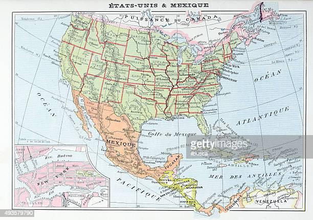 stockillustraties, clipart, cartoons en iconen met antique map of usa and mexico - middelste deel