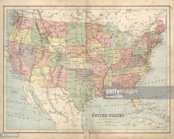 antique map of usa in the 19th century, 1873 - werkzeug stock illustrations