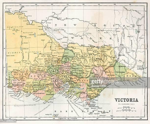 antique  map of victoria, australia - melbourne stock illustrations