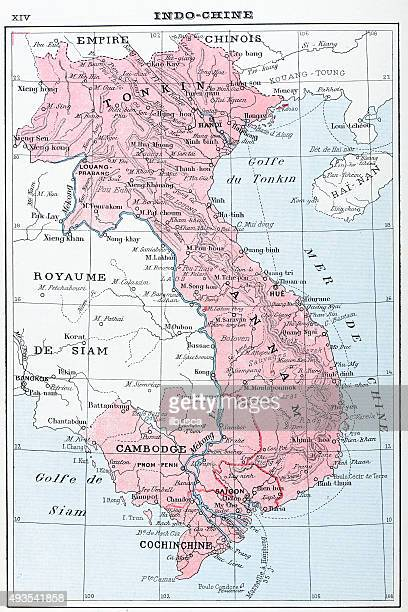 Antique map of Vietnam, Laos, Cambodia and T‫hailand