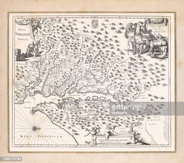ilustraciones, imágenes clip art, dibujos animados e iconos de stock de mapa antiguo de virginia estados unidos 1671 - cristobal colon