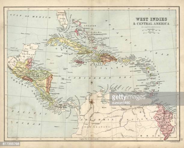 Antique map of West Indies and Central America, 19th Century