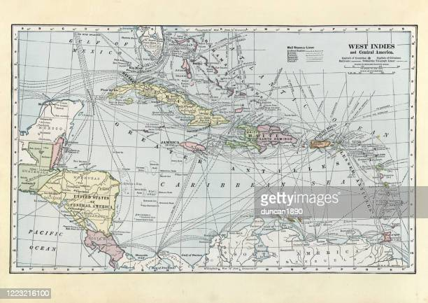 ilustraciones, imágenes clip art, dibujos animados e iconos de stock de mapa antiguo de las indias occidentales y centroamérica - el salvador