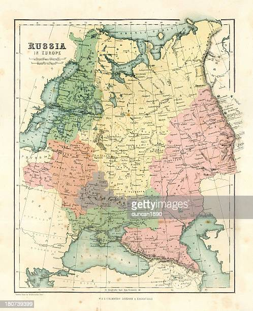 antique map - russia in europe - eastern europe stock illustrations, clip art, cartoons, & icons