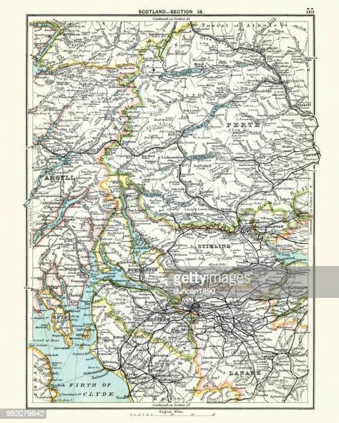 antique map, scotland, glasgow, perth, argyll, lanark, 19th century - perth scotland stock illustrations
