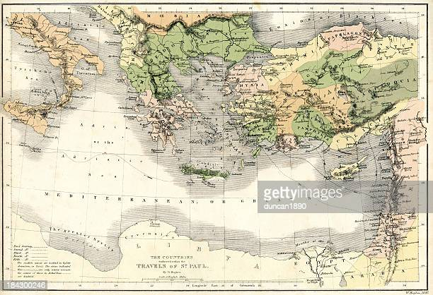 antique map the journey's of saint paul - biblical event stock illustrations