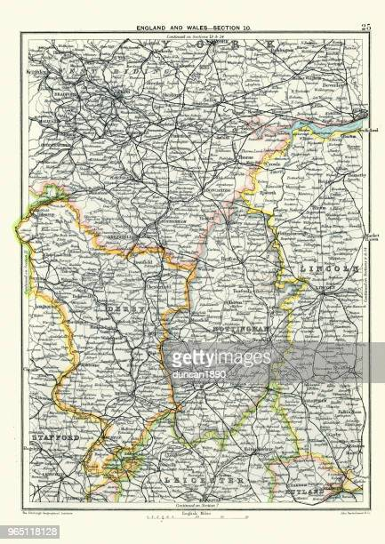 Antique map, West Yorkshire, Derby, Nottingham, Lincoln, 19th Century