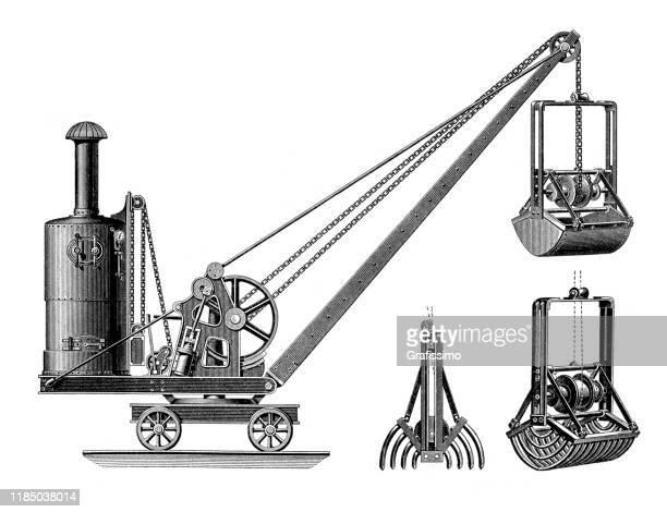ilustraciones, imágenes clip art, dibujos animados e iconos de stock de ilustración de excavadora mecánica antigua 1896 - al vapor