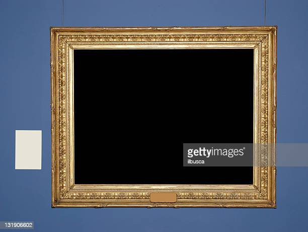 Antique museum frame with copy space and blank tag