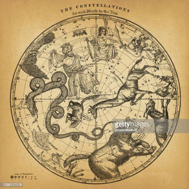 antique northern hemisphere constellation map on old paper - star chart stock illustrations