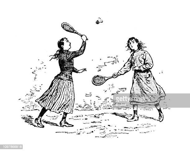 antique old french engraving illustration: badminton - badminton racket stock illustrations