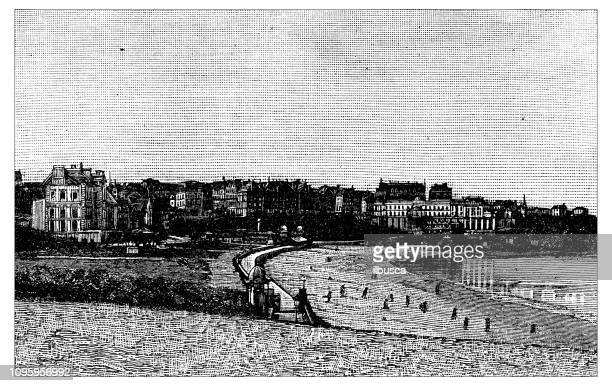 antique old french engraving illustration: biarritz - en búsqueda stock illustrations
