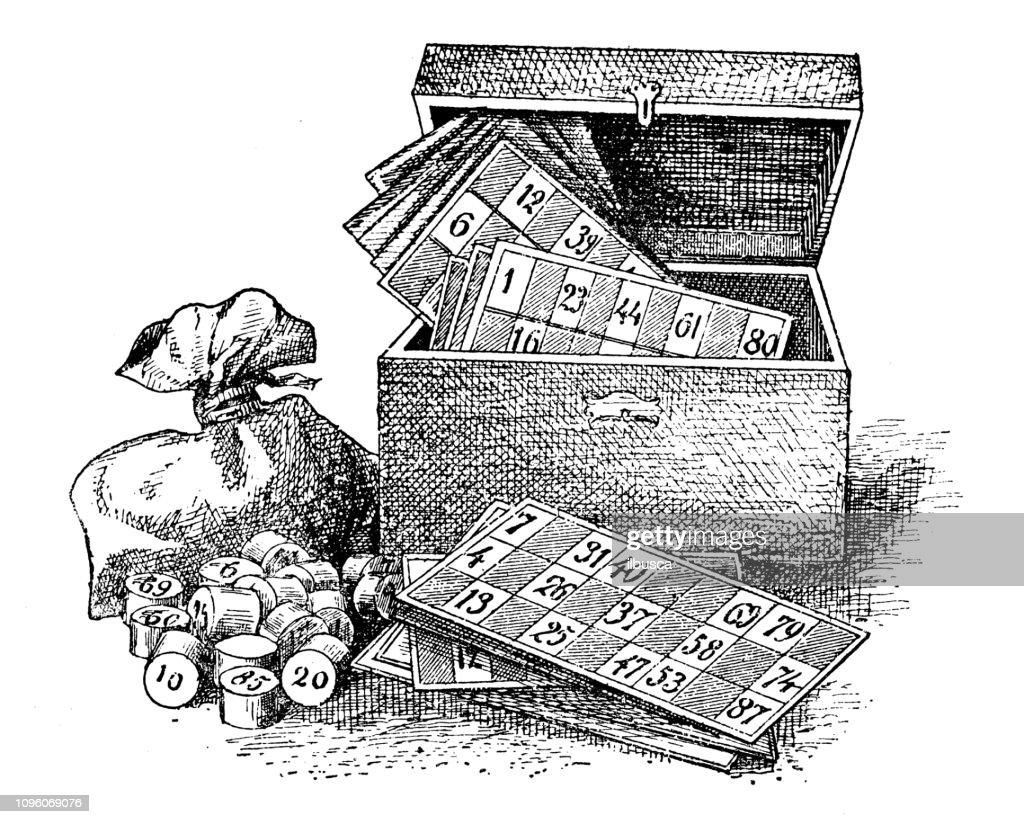 Antique old French engraving illustration: Bingo : stock illustration