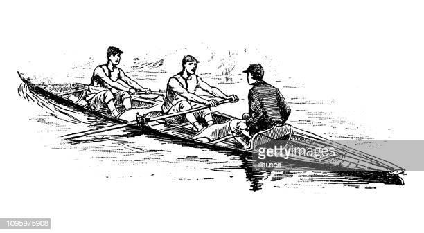 アンティークの古いフランス語彫刻イラスト: canotier/漕ぎ手 - チームスポーツ点のイラスト素材/クリップアート素材/マンガ素材/アイコン素材
