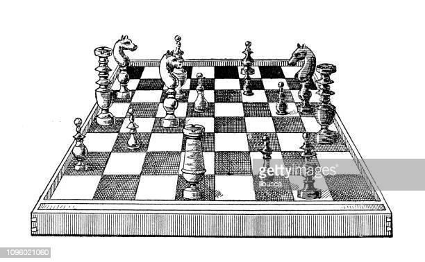 アンティークの古いフランス語彫刻イラスト: チェス盤 - チェス点のイラスト素材/クリップアート素材/マンガ素材/アイコン素材