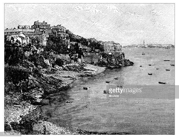 antique old french engraving illustration: dinard, cote st-malo - dinard stock illustrations