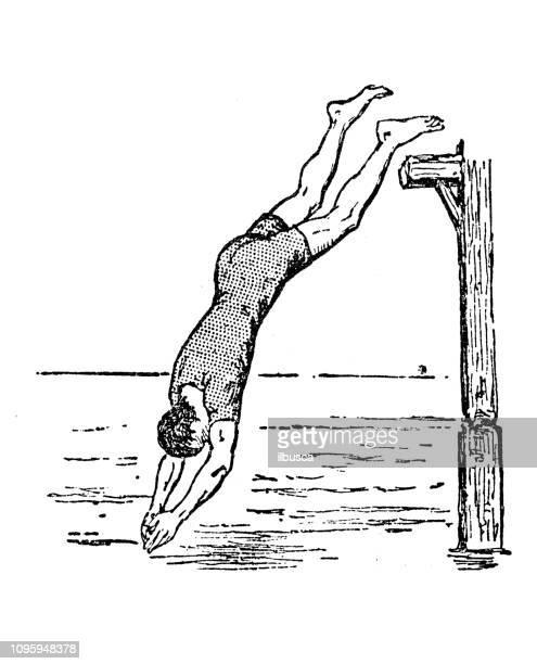 アンティークの古いフランス語彫刻イラスト: 水に飛び込む - 水に飛び込む点のイラスト素材/クリップアート素材/マンガ素材/アイコン素材
