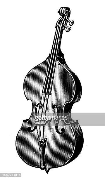 antique old french engraving illustration: double bass - bass instrument stock illustrations, clip art, cartoons, & icons