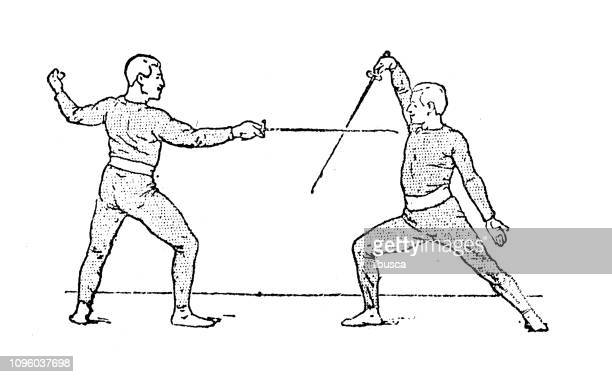 antique old french engraving illustration: fencing - dueling stock illustrations, clip art, cartoons, & icons