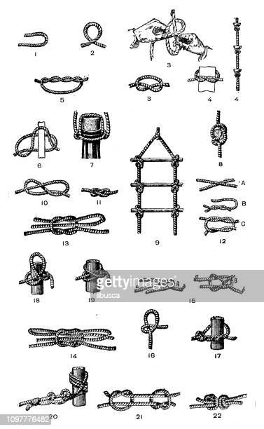 antique old french engraving illustration: knots - rope stock illustrations