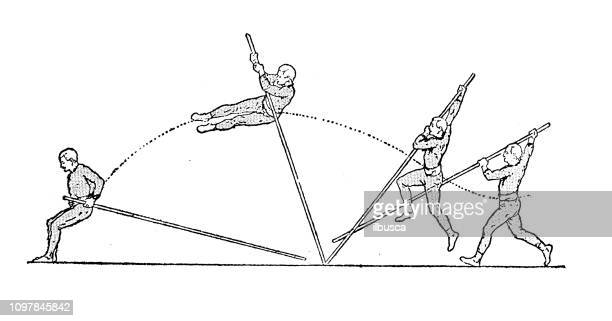antique old french engraving illustration: pole vault jump - pole vault stock illustrations