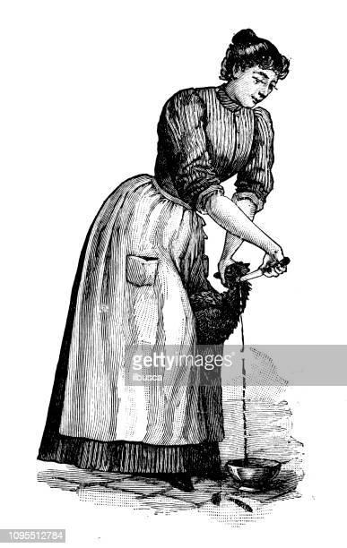 ilustraciones, imágenes clip art, dibujos animados e iconos de stock de antigua ilustración francesa grabado antiguo: mujer matando a pollo - matadero